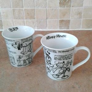 DISNEY sketchbook Mickey mouse and Pluto mugs.